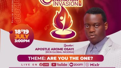 Photo of BE READY FOR A NEW GENERATION INVASION 2020 EDITION WITH APOSTLE AROME OSAYI
